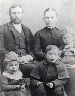 Levi McDowell and wife Polly and unnamed children